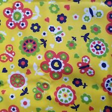 """Bold Yellow Floral Butterfly Fabric Drapery Upholstery 1 1/3"""" Yard X 44"""" Heavy"""