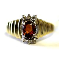14k yellow gold .09ct oval citrine diamond ring 4.5g vintage estate antique