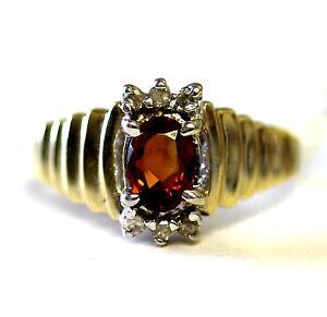 14k yellow gold .09ct oval Natural citrine gemstone diamond ring 4.5g estate