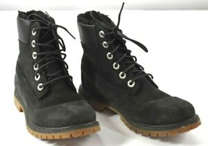 """Timberland Womens Black Lace Up Boot 6"""" Rounded Toe Waterproof Leather 6.5"""