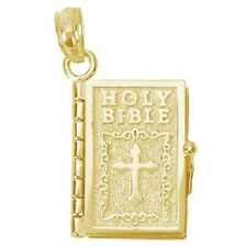 Holy Bible 14k Yellow Gold 3d Opens Charm Pendant REC-002