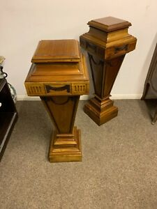 20th Century Empire Neoclassical Wooden Pedestal Plant Stand Columns A Pair