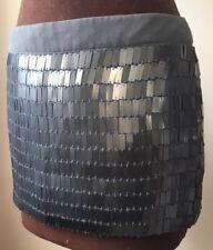 TOPSHOP Sz 10 women's short skirt silver metallic grey sequinned mini party