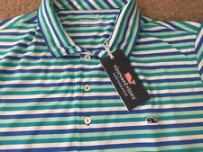 New Vineyard Vines Mens Performance Polo Gill Stripe Shirt TURQUOISE SEA Sz L