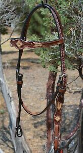 """Circle Y 5/8"""" Browband Headstall Hand Tooled with Rawhide Lacing - Quick Change"""
