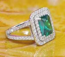 10K WHITE GOLD EMERALD AND DIAMOND ENGAGEMENT RING DOUBLE HALO SPLIT BAND 2.70CT