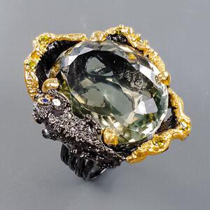 28ct+ Handmade Green Amethyst Ring Silver 925 Sterling  Size 7 /R178288