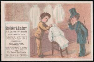SHEDAKER & LINDSAY Philadelphia PA Vintage Victorian Trade Card Dress Shirts