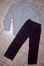 Gymboree Navy Check Ls Shirt Sz M ( 7/8) & Navy Pants Size 7 Outfit