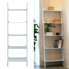 5 TIER LADDER WALL SHELF UNIT DISPLAY BOOK CASE SHELVES GREY STORAGE UK STOCK