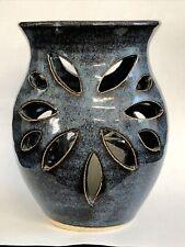 "Studio Art Clay Ceramic Blue Glazed 5"" Votive candle Holder Cut Out Signed"