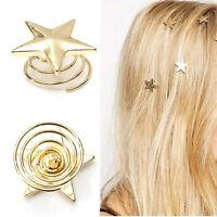 Vogue Women Lady Cute Star Gold Swirl Hair Pins Clip Hairpin Barrettes Gift SEAU