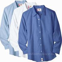 Dickies Shirts Women Stretch Oxford Work Shirt Long Sleeve Top FL011 BLUE WHITE