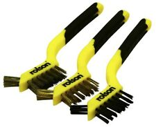 3 Brush Set Stainless Steel Nylon Brass Soft Grip Handles Wire Brushes Rolson