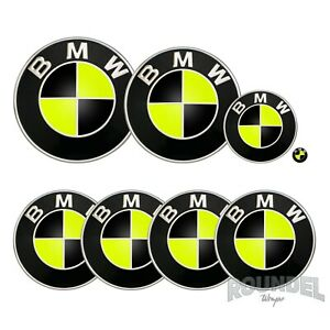 For BMW Badges - Neon Yellow & Black - All Models Decals Wrap Sticker Overlay