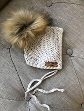 Baby Boy Girl Cozy Crochet Design Wool Bonnet Hat Faux Fur Pom Pom Newborn Beige