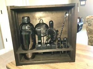 16-Piece Cocktail Shaker Set with Rustic Wooden Crate Display Organizer(Gun-Meta