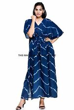 New Plus Size Tie Dye Long Caftan Indigo Blue Shibori Dress Kaftan Indian Gown