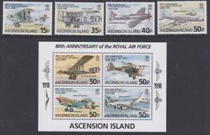 ASCENSION 1998 RAF 80th anniversary MINT set & sheet sg742-746 MNH