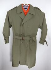 "TRAVELSMITH Men's Double Breasted Trench Coat Khaki Green 52"" Long Classic Style"