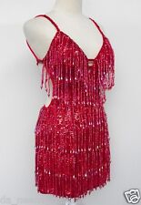 Da NeeNa M004  Hot Sexy Salsa Dance Tiered Beaded Fringe Dress XS-XL