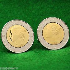 Italian 500 Lira Coin Cufflinks, Bimetal Repubblica Italiana Lire Italy