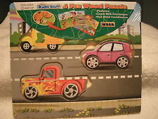 New 4 Piece Cars and Trucks Wooden Puzzle