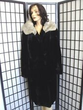 SCARP WORN BLACK SHEARED RABBIT & MINK COLLAR FUR COAT JACKET WOMEN WOMAN