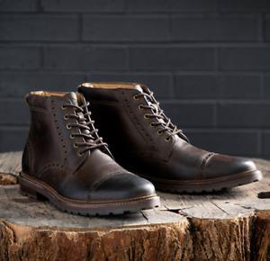 Florsheim Mens 12 Fenway Brown Leather Brogue Cap Toe Ankle Boot MSRP $130
