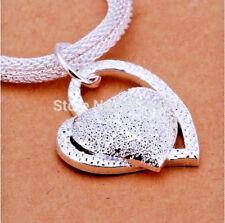 Damen 925  Silber Anhänger Halskette Herzkette Schmuck Kette