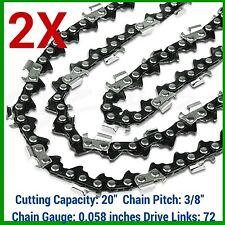 """2XChainsaw Chain 72DL,3/8 Pitch, .058 Gauge HUSQVARNA 20"""" BAR - Husky Saw"""