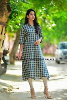 WOMEN FASHION INDIAN PRINTED COTTON KURTI TUNIC LONG DRESS GREY CHECK MAXI S-2XL