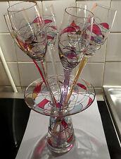Rarissime set de 6 flûtes à champagne + seau/vase GALLERIA CRISTAL DE PARIS