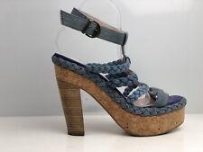Miss Sixty Women's Blue Denim Block Heel Sandals UK Size 7