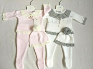 Beautiful baby girls and boys knitted Spanish  3 piece outfit suit set with hat