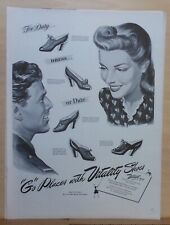 1943 magazine ad for Vitality Shoes - For Duty, Dress or Date, 5 styles. WW2 ad