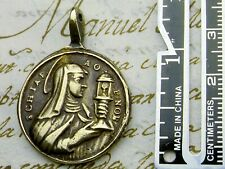 ANTIQUE 18TH CENTURY BRONZE MEDAL ST CLARE OF ASSISI & ST PASCHAL BAYLON
