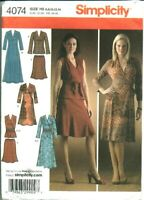 S 4074 sewing pattern Chic DRESS Fab TOP Pull-on SKIRT SASH sew sizes 6~14 UNCUT