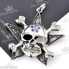 Gothic Clear Blue Crystal Skull Head Pirate Star Bone Cross Bead Pendant Antique