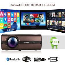 4K WiFI Android 6.0 LED Full HD 1080P Projektor Mini 3D Beamer Heimkino HDMI 8GB