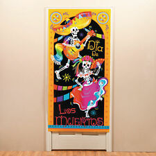 HALLOWEEN DAY OF THE DEAD DOOR COVER SUGAR SKULL SKELETONS PARTY DECORATION