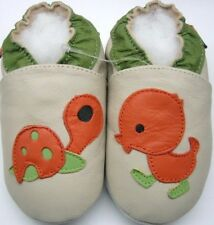 Minishoezoo turtle duck beige 3-4 years soft sole baby leather  shoes slippers