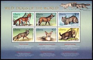 Liberia 1999 MNH SS, Wild Animals, Wild Dogs Fox Jackal Coyote