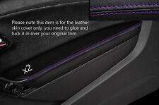 PURPLE Stitch 2x Porta BRACCIOLO PELLE COPERTURA Adatta per VW Polo MK8 09-15 3 PORTE