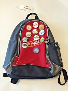 Southwest Airlines Backpack travel book bag black / red laptop bag buttons incl