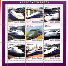 A0875 -  GUINEA-BISSAU - ERROR   MISSPERF SHEET - TRANSPORT TGV Trains 2001