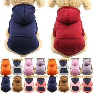 Small Pet Dog Warm Hooded Hoodie Coat Sweatshirt Clothes Fleece Lined Top
