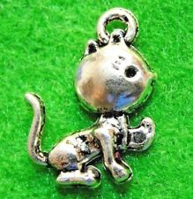 50Pcs. WHOLESALE Tibetan Silver CAT KITTY Charms Pendants Earring Drops Q1295