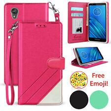 For Motorola Moto E6 Premium PU Leather Credit Card Slot Wallet Flip Pouch Case