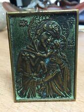 Plaque Icone à poser Holy Virgin Vierge à l'Enfant bronze signé Max Le verrier